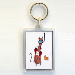 Snorkelling in the bath keyring or Bag Tag