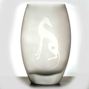 Frosted Glass Vase - Greyhound Silhouette