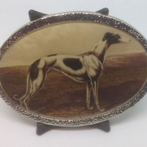 White and Black Standing Greyhound Metal Belt Buckle