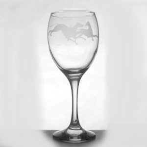 Wine Glass - Greyhounds at Play