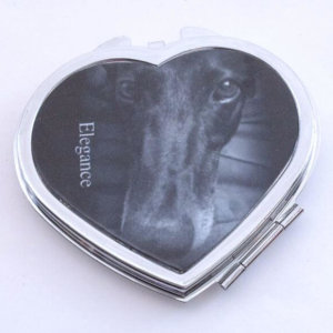 Compact Mirror - Heart Shape - Black Greyhound - Elegance