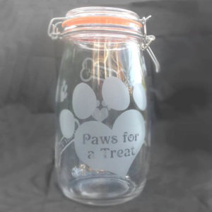 Dog Treat Jar - Paws For A Treat - Image 1