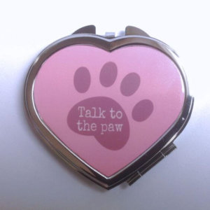 Compact Mirror - Heart Shape - Talk To The Paw