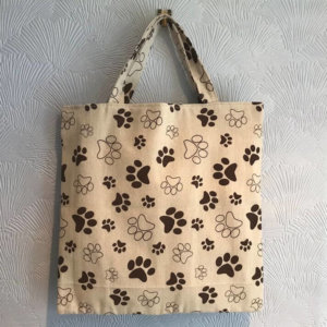 2 Layer Cotton linen Paw Print Tote Bag
