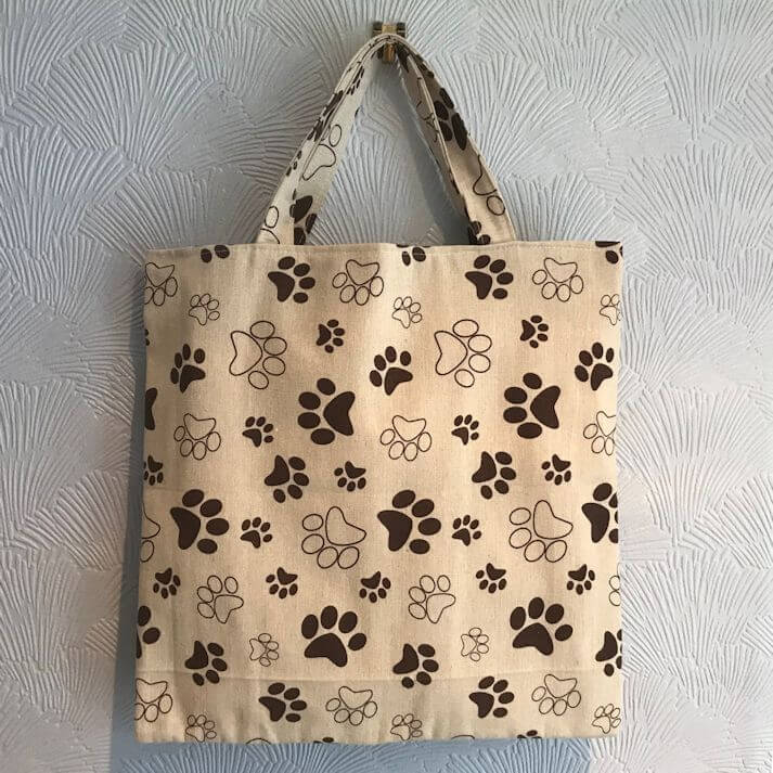 Tote Bags - Cotton Canvas Lined Bag - Paw Print Design - Paws A While ff49cf4a48
